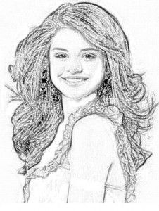 Dibujo Selena Gomez para colorear