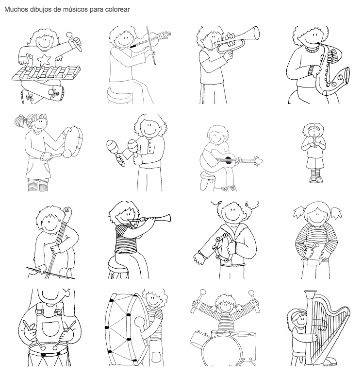 Dibujos de músicos para colorear